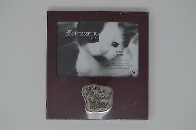 Decorative Photo Frame size  5 x 3.5 with curious Kitty  metal logo