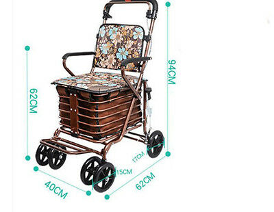 Gold Six Wheels Convenient Foldable Shopping Luggage Trolleys With Seat #!