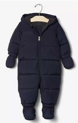 New Baby GAP Pram Puffer Navy blue Snow Suit 6-12 months DOWN filled