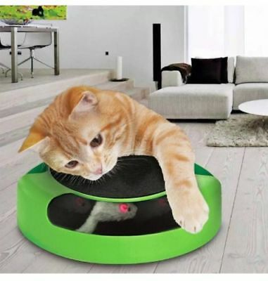 Cat Kitten Catch The Mouse Moving Play Toy Plush Scratching Claw Mat (GREEN/RED)