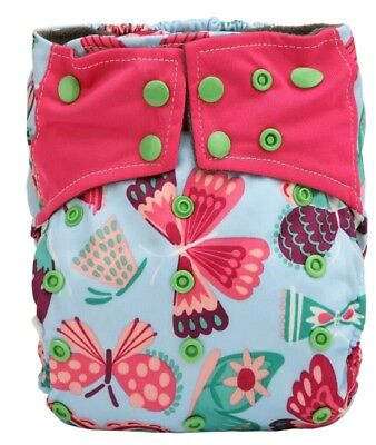 New Bamboo Charcoal AI2 Butterfly Cloth Diaper Nappy Double Gusset All In Two