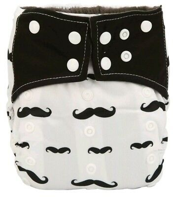 New Bamboo Charcoal AI2 Mustache Cloth Diaper Nappy Double Gusset All In Two