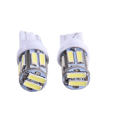 HOT 10 x White LED T10 194 158 168 912 10-SMD Map Dome License Plate Light Bulbs