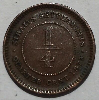 Rare 1873 old Malaysia state  Straits Settlements Quarter cent coin. F+/aVF