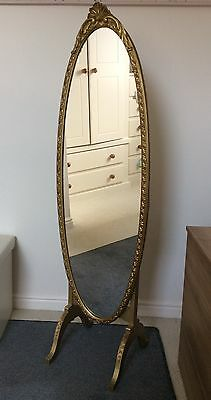 Antique mirror French Cheval Oval Mirror Guilded carved golden free standing