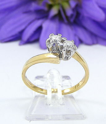 Wert 590.- Filigraner Ring 585 / 14 Karat Gelb Gold / 2 Brillanten 0,16 Ct