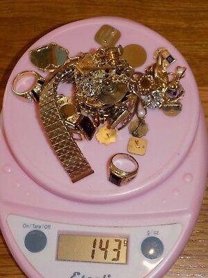 Lot Of Gold Filled Scrap Jewelry  1/10-1/20 of 14K 12k 10k Mix 143 Grams