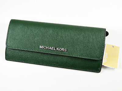 42bc9d90368e Michael Kors Jet Set Travel Slim Saffiano Leather Flat Wallet $148 MOSS  GREEN