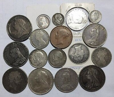 Collection 17 old GB UK coins 1816 - 1918. Many High Grade 1d - 5/- incl 4/-