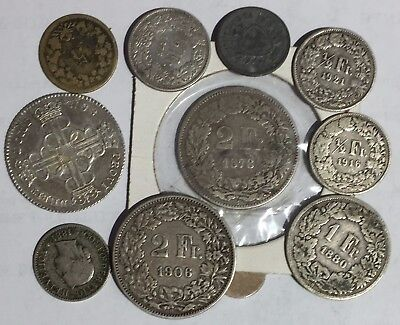 10 old Swiss coins 1797 - 1946