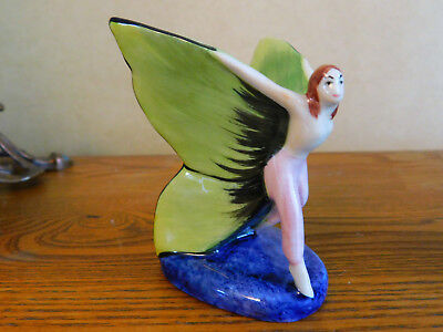 RARE Prototype Carlton Ware Butterfly Girl Green Wings Blue Base Figurine Fairy