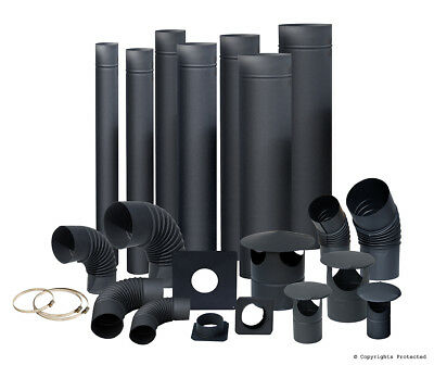 Black Flue Pipes / Elbows / Rain Caps - From 4 Inch , 5 Inch To 6 Inch