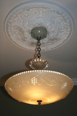 Antique creamy beige glass  Art Deco light fixture ceiling chandelier 1940s