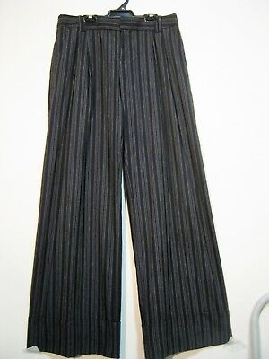 Fantastic 80S 'cue' Very Wide Pinstripe Baggy Flares With Wide Cuffs. Sz 10-12.