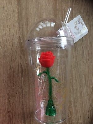 Beauty And The Beast Enchanted Rose Plastic Cup Tumbler  Primark Bnwt Disney