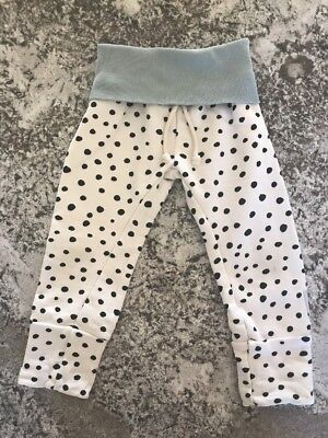 Purl Lamb Size 3t 4t 3/4t Sweatpants White With Black Polka Dots Organic Cotton