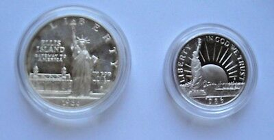 1986 Mint Statue of Liberty Two Coin SILVER Dollar & Clad Half US Mint  SET
