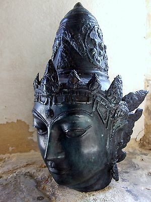 Large Vintage Metal Statue Head Hindu Goddess Deity Buddha 13in tall