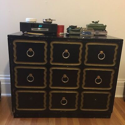 Dresser Hollywood Regency Dorothy Draper Espana Style Black