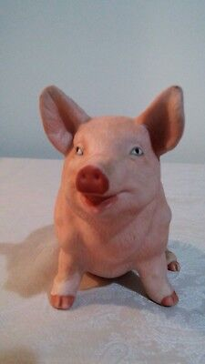 Vintage Ceramic Pink Colored Sitting Position Pig Figurine