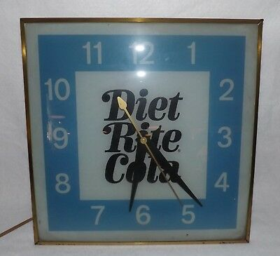 Vintage Diet Rite Cola Bubble Glass Lighted Advertising Clock - Works Great!
