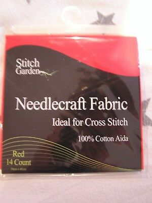 New- Stitch Garden 14 count 100% cotton Aida- 30x45cm- red and black available