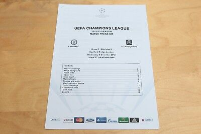 UEFA Champions League Press Kit - Chelsea v FC Nordsjaelland - 5th December 2012