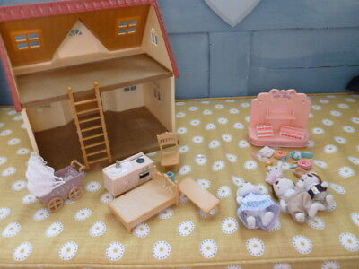 Sylvanian Families toy cottage house furniture figures gift shop pram & baby