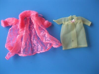 Vintage Barbie Doll Mod PINK & YELLOW ROBE LOT Mattel Tagged Clothes 60's