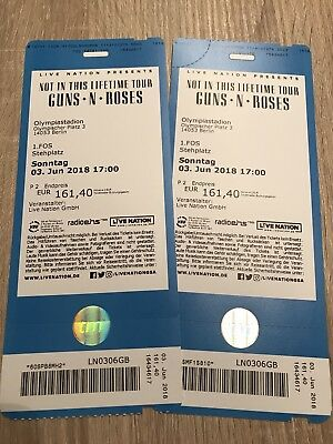 2 Guns 'n' Roses Tickets FOS1 Front of Stage Berlin Olympiastadion 03.06.2018