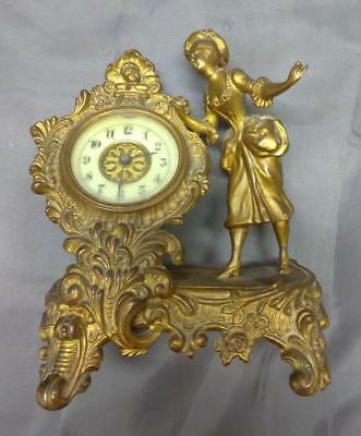 Old Antique Miniature Figural Statue Wind Up Clock French Style Woman Lady