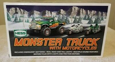 *NEW IN BOX* 2007 Hess Monster Truck with Motorcycles