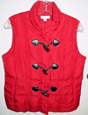 Charter Club Petite Puffer Vest Outerwear Zip Toggle Buttons Red size PP