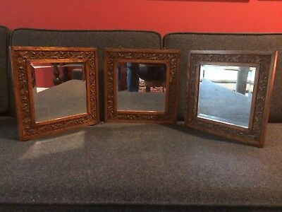 """Antique Tri Fold Oak Beveled Mirror Victorian """"Stand or Hang"""""""