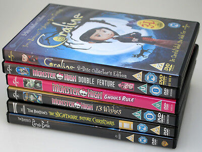 3x Monster High DVDs+Tim Burton Corpse Bride Coraline 2D/3D & Nightmare b4 Xmas