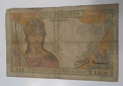 FRENCH INDOCHINA BANK NOTE 1949 P55-d, 5 PIASTRES - VIETNAM / LAOS / CAMBODIA