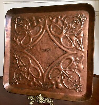 An Arts And Crafts Copper Tray, Stylised Decoration, c.1900. 37cm.