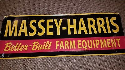 "Vintage  MASSEY HARRIS EQUIPMENT Dealer SignTractors 60"" Heavy Vinyl Banner Flag"