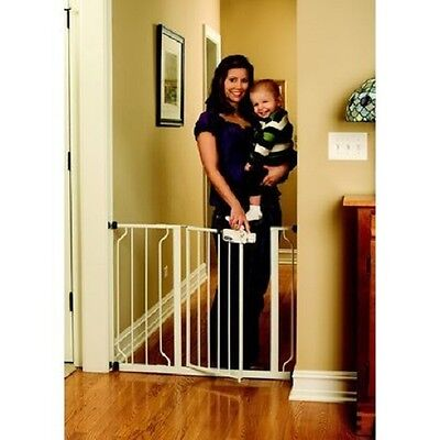 Dog Gates Baby Gate for the House Child Safety 29-39 Inches Wide Walk Thru White