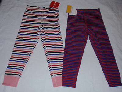 NWT LOT OF 2 Girls Hanna Andersson Striped Leggings Red Blue Sz 100 4 4t NEW