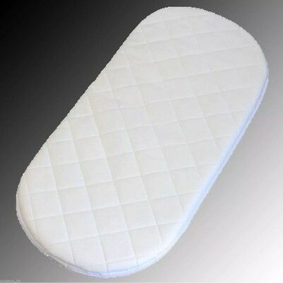 Moses Basket Quilted Baby Waterproof Breathable Foam Mattress 74 x 29 x 3cm oval