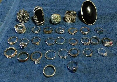 """LARGE Estate vintage to modern Lot of Jewelry  Junk drawer. """" All Rings"""""""
