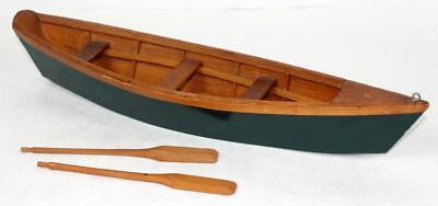 Antique Wooden Row Boat Toy Model with Oars