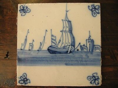Antique Delft tile blue and white eighteenth century ship at sea