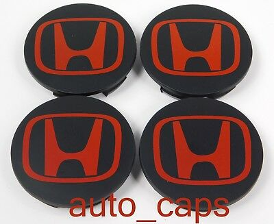 "Honda Set of 4 Black Red wheel rim center caps insert 2.75"" 69mm Civic Accord"