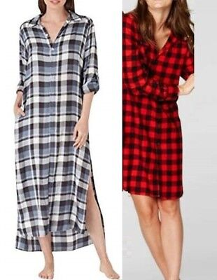 NWT- TALL Mens Extra Long FLANNEL SLEEPSHIRT Nightshirt Nightgown RED BLUE PLAID