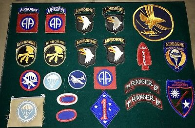 WWII Patch Collection, 101st Airborne, 82nd Airborne, FSSF, Ranger, Paratrooper