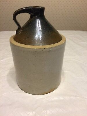 "Antique Vintage Stoneware Moonshine Jug 11""x7"" Hole For Lamp Wire Brown Top"