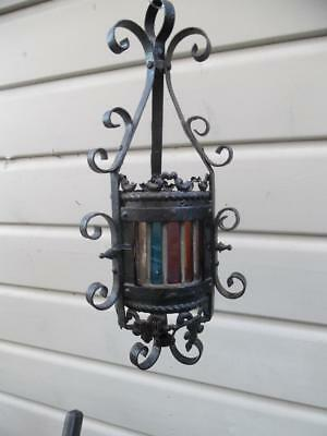 Delightful Petite Vintage French Stained Glass Wrought Iron Lantern / Light