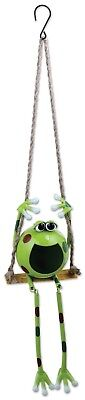 "36"" Frog Garden Solar Hanging Swing Metal Light Yard Camp Vintage Fun Jewerlry"